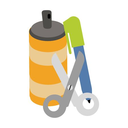 paint spray bottle with scissors and marker vector illustration graphic design