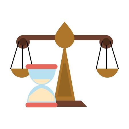Justice balance and hourglass symbol vector illustration graphic design Standard-Bild - 129791725