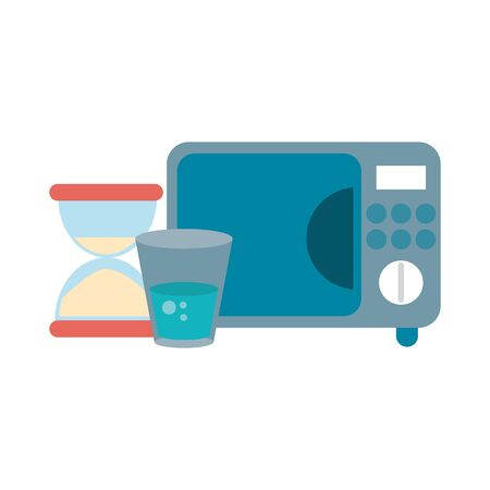 microwave water cup and hourglass vector illustration graphic design Illusztráció