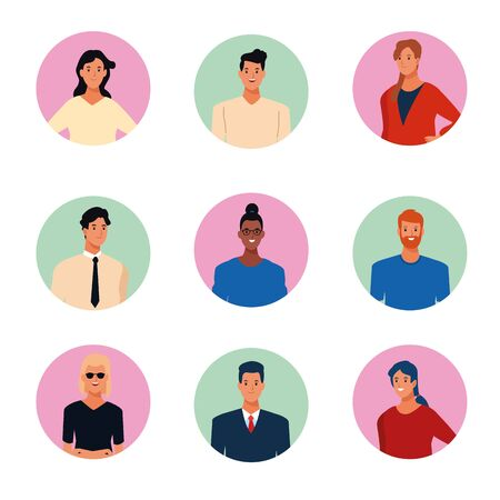 young people characters round icons cartoons vector illustration graphic design Illustration