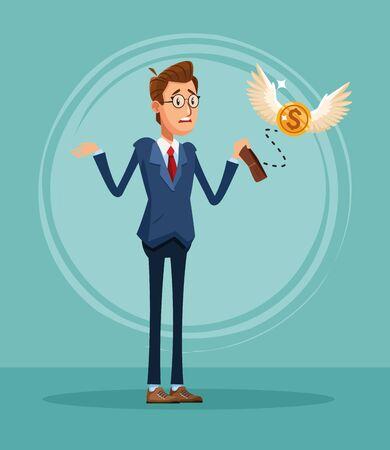 Geschäftsmannbankier mit leerem Geldbörsenkarikaturvektorillustrationsgrafikdesign Vektorgrafik