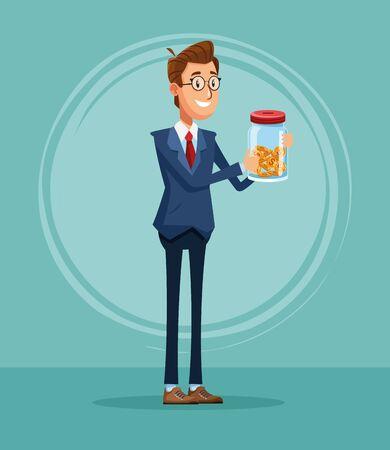 Businessman banker with savings cartoon vector illustration graphic design Stock Illustratie
