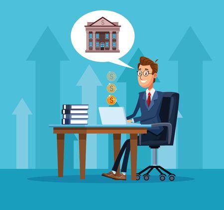 Banchiere dell'uomo d'affari che lavora nella progettazione grafica dell'illustrazione di vettore del fumetto dell'ufficio