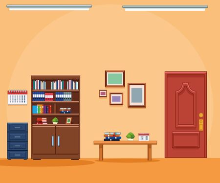 Business office workplace furniture interior vector illustration graphic design