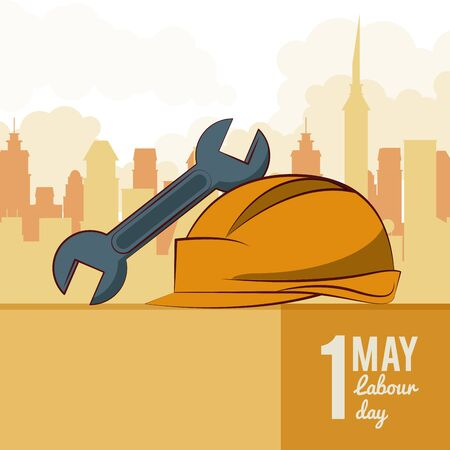 Labor day may eleven card with tool and cityscape vector illustration graphic design Stock Illustratie