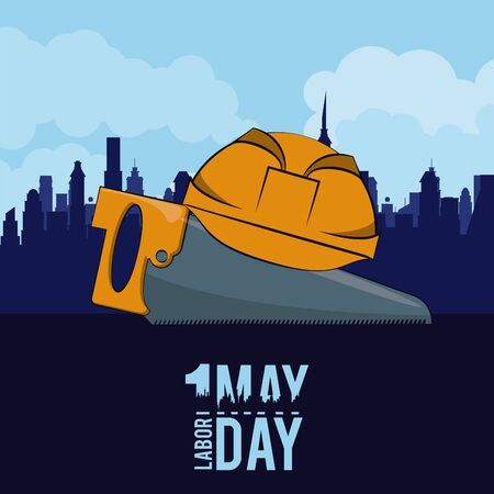 Labor day may eleven card saw and helmet over cityscape vector illustration graphic design