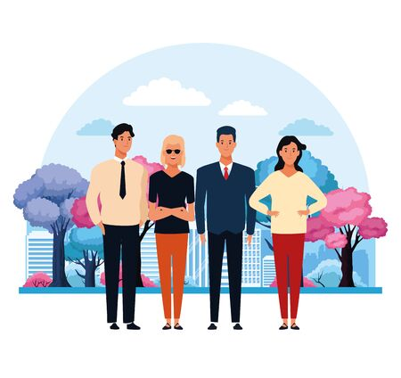 People in the city park scenery cartoons vector illustration graphic design Illustration