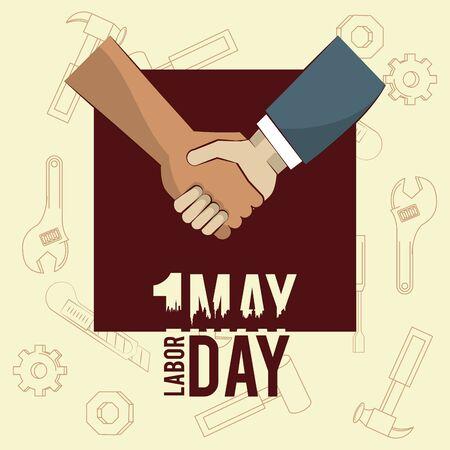 Labor day may eleven card handshaking businessman and worker vector illustration graphic design Ilustração