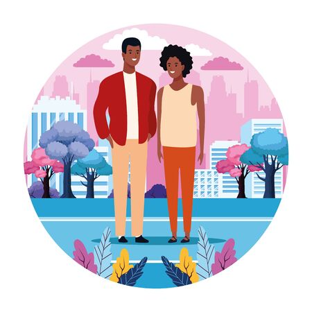 Couple in the city scenery round icon cartoon vector illustration graphic design Illustration