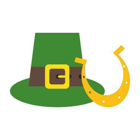 saint patricks day irish tradition leprechaun hat with horseshoe cartoon vector illustration graphic design
