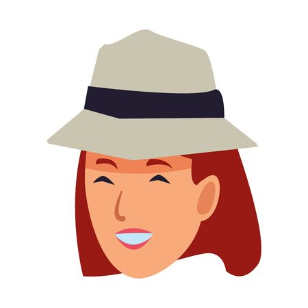 Woman with summer hat smiling face cartoon