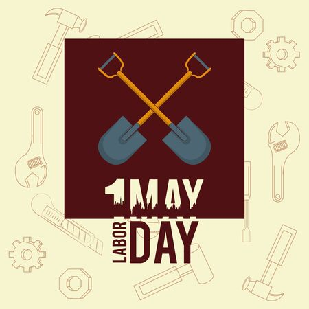 Labor day may eleven card crossed shovel frame cartoons vector illustration graphic design