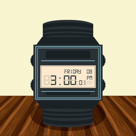 Digital clock on table cartoon vector illustration graphic design