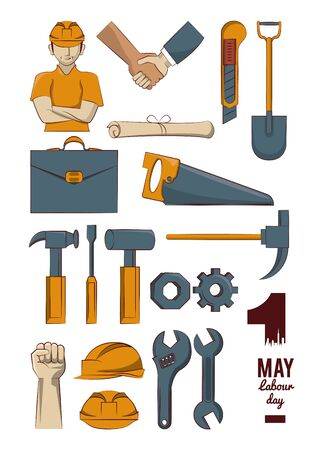 construction tools collection labor day first may vector illustration graphic design