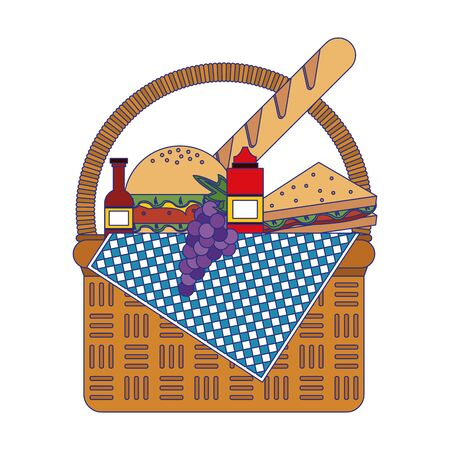 Picnic basket with fresh foods vector illustration graphic design