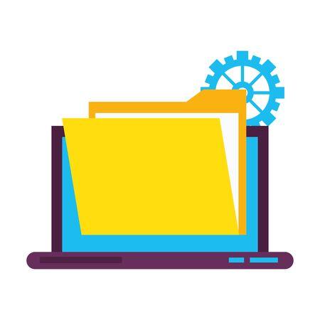 laptop mobile technology hardware documents support cartoon vector illustration graphic design