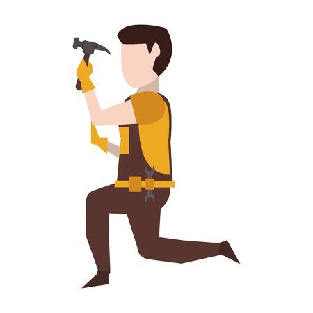 Contruction worker using hammer on knees vector illustration graphic design Illustration