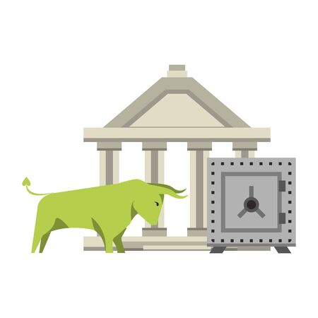 Bank building and bull stock market with strongbox vector illustration