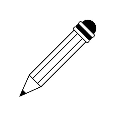 knowledge education element wooden pencil cartoon vector illustration graphic design in black and white Иллюстрация