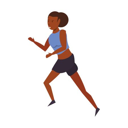 Fitness woman running isolated cartoon vector illustration graphic design