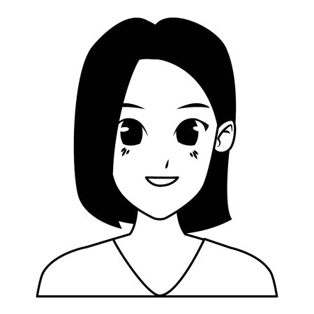 Young woman wit short hair face smiling cartoon vector illustration graphic design