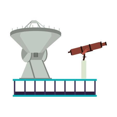 Space satellite and telescope on plataform vector illustration graphic design