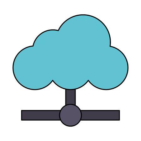 web clouds technology computer information cartoon vector illustration graphic design