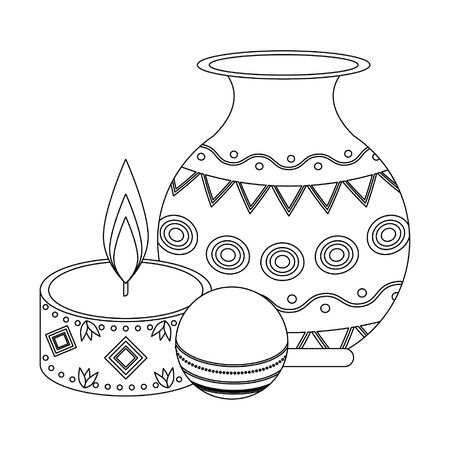 Ugadi indian celebration emblems jar ball and candle cartoons vector illustration graphic design