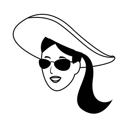 Young woman with sunglasses and hat face cartoon vector illustration graphic design