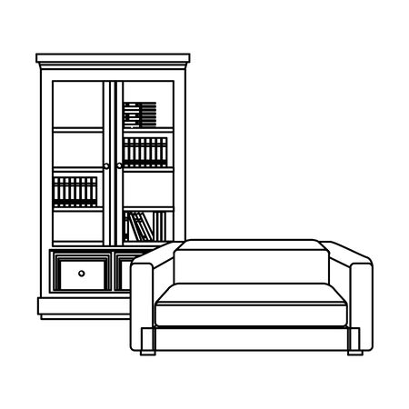 Woode library and sofa armchair furniture vector illustration graphic design