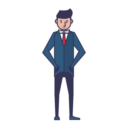 executive business finance man wearing suit cartoon vector illustration graphic design Illustration