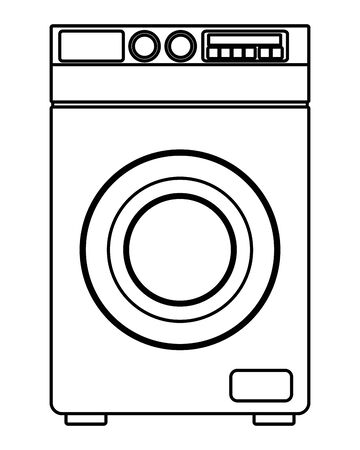 laundry wash and cleaning washing machine icon cartoon in black and white vector illustration graphic design