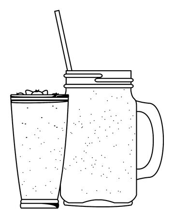fruit tropical smoothie drink with large glass, squared glass and straw icon cartoon in black and white vector illustration graphic design Çizim