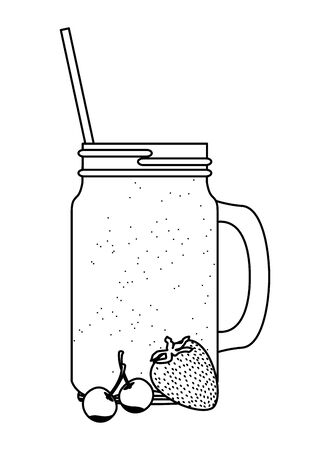 tropical fruit and smoothie drink with cherries and strawberry icon cartoon in black and white vector illustration graphic design
