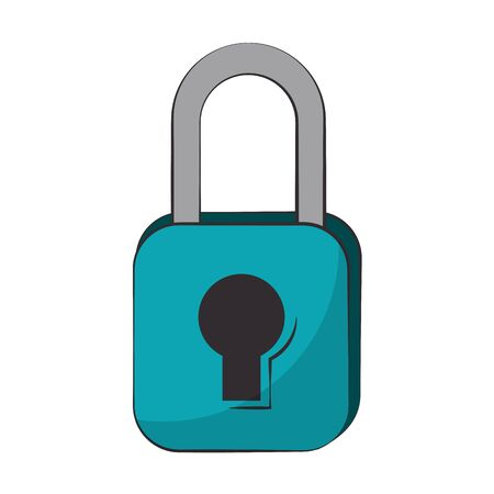 Padlock security symbol isolated cartoon vector illustration graphic design