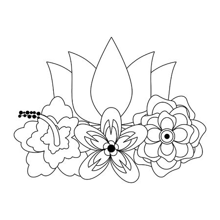 lotus blossom flowers nelumbo nucifera gaertn icon cartoon vector illustration graphic design Ilustracja
