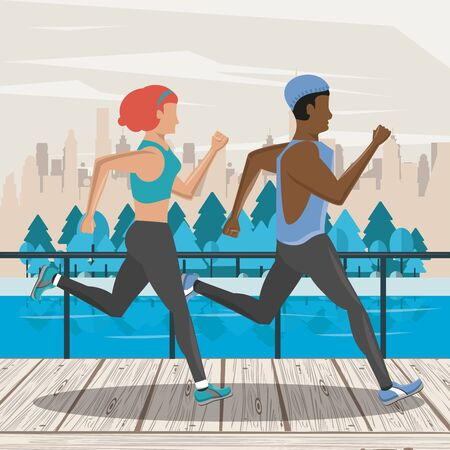 Fitness friends couple running in the city park scenery vector illustration graphic design