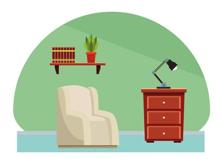 House sofa and light lamp on drawer scenery cartoon vector illustration graphic design. Иллюстрация