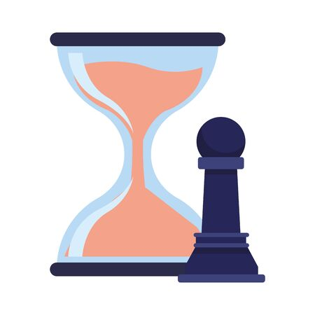hourglass sand timer with chess pawn icon cartoon Stock Illustratie