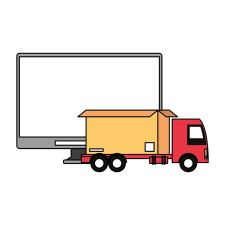 logistic and delivery shipping with truck carrying merchandise and computer screen cartoon vector illustration graphic design