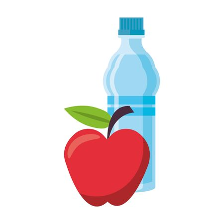 fitness equipment workout health and water bottle apple isolated symbolssymbols vector illustration graphic design