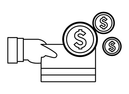 hand holding a credit card and money coins icon cartoon in black and white vector illustration graphic design