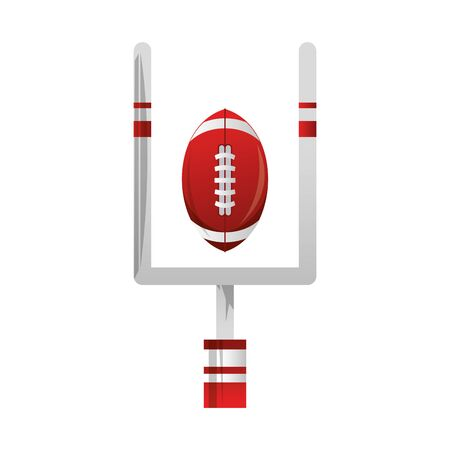 american football sport game goal post with ball cartoon vector illustration graphic design