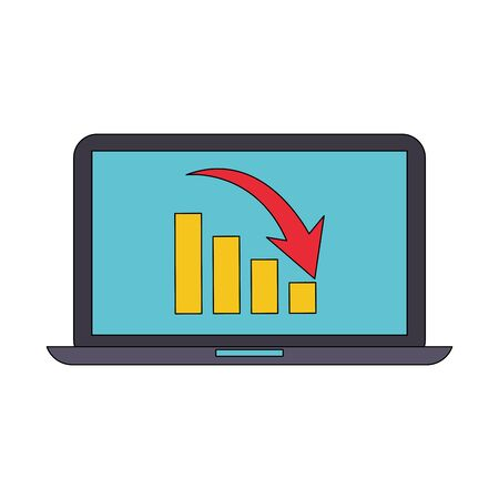 laptop computer mobile technology analyzing graphics cartoon vector illustration graphic design