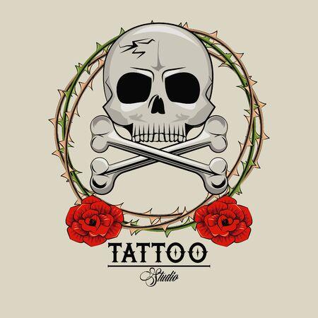 Tattoo studio old school drawings skull and roses emblem vector illustration graphic design Çizim