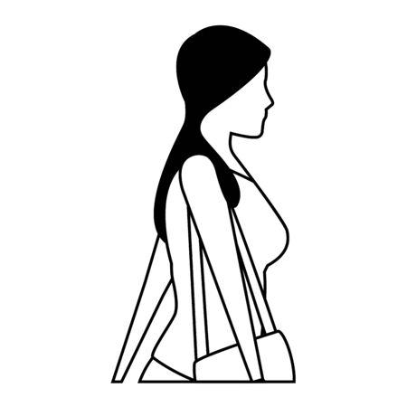 young woman upper body with handbag cartoon vector illustration graphic design Stok Fotoğraf - 130729656
