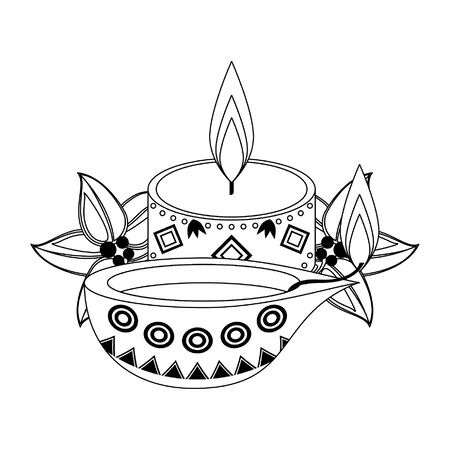lit candle with indian lamp and leaves icon cartoon isolated vector illustration graphic design Illusztráció