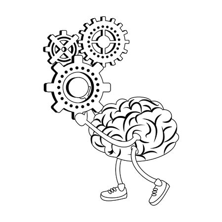 Brain with shoes holding gears pieces cartoons vector illustration graphic design