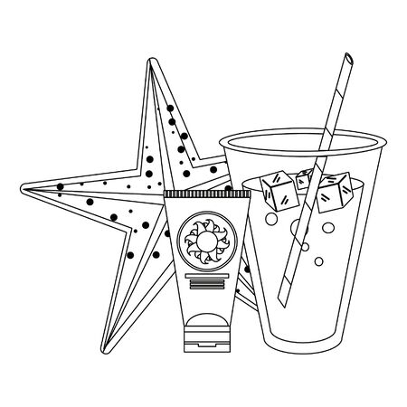 summer beach and vacation with tropical cocktail, starfish icon cartoons in black and white vector illustration graphic design