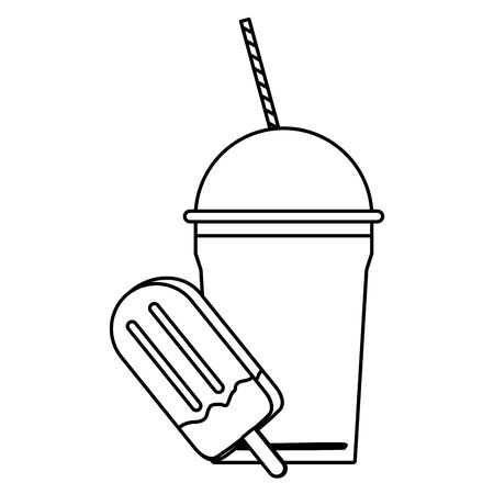 delicious ice cream icon cartoon and frozen ice shaved icon cartoon  in black and white vector illustration graphic design Çizim